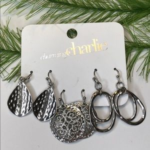 🍭 Charming Charlie earrings, set of three silver